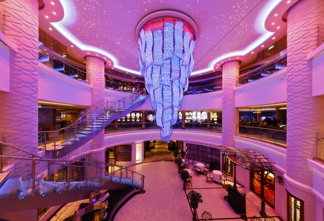 Norwegian cruises escape cruise ship atrium chandelier