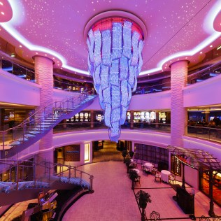 Norwegian cruises escape cruise ship atrium chandelier
