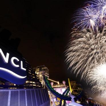 Norwegian cruises escape cruise ship inaugural fireworks