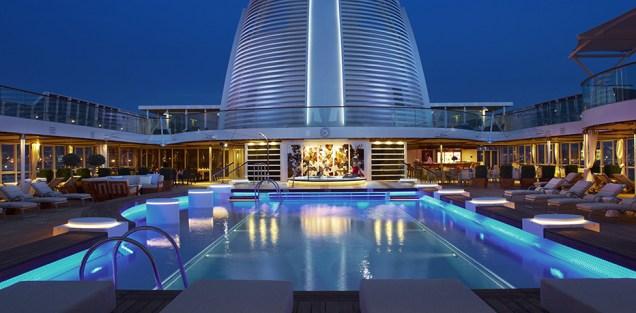 Residensea cruises The World cruise ship pool nighttime