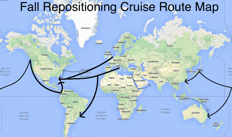repositioning cruises map