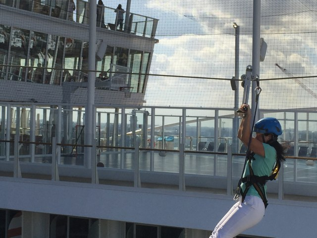 Royal Caribbean Cruises Harmony of the Seas cruise ship ziplining sideview