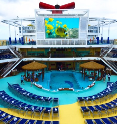 Carnival Cruises Vista cruise ship pool and TV