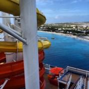 Carnival Cruises Vista cruise ship waterslide view of beach