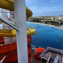 Carnival Cruises Vista cruise ship waterslide view of beach