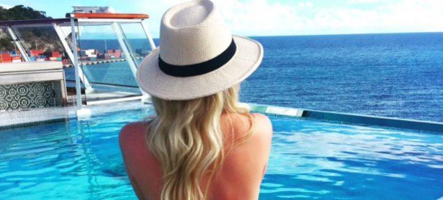 Viking Cruises Viking Star aft pool girl cruise ship