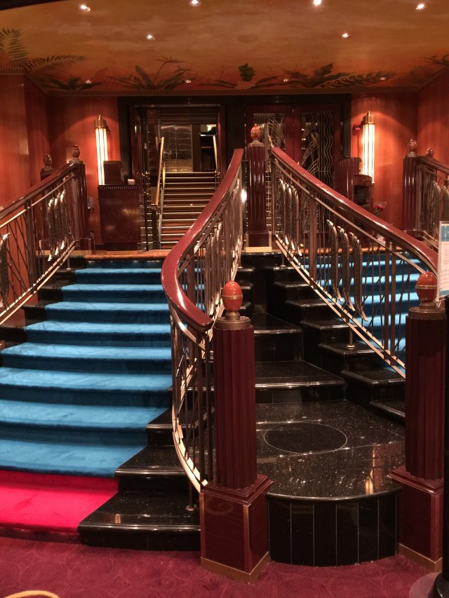 Norwegian cruises Jade cruise ship Norway dining room staircase