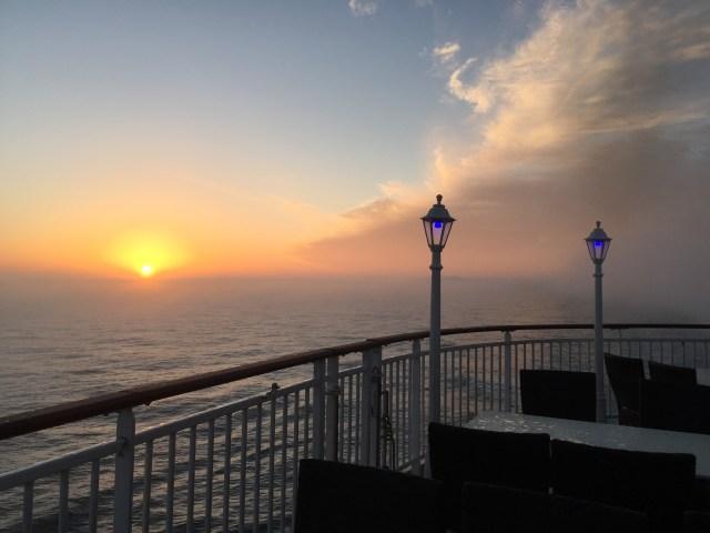 Norwegian cruises Jade cruise ship Norway top deck sunset