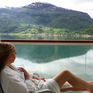 Norwegian cruises Jade cruise ship Norway balcony lounger