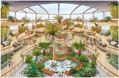 Peaceboat Ecoship cruises atrium