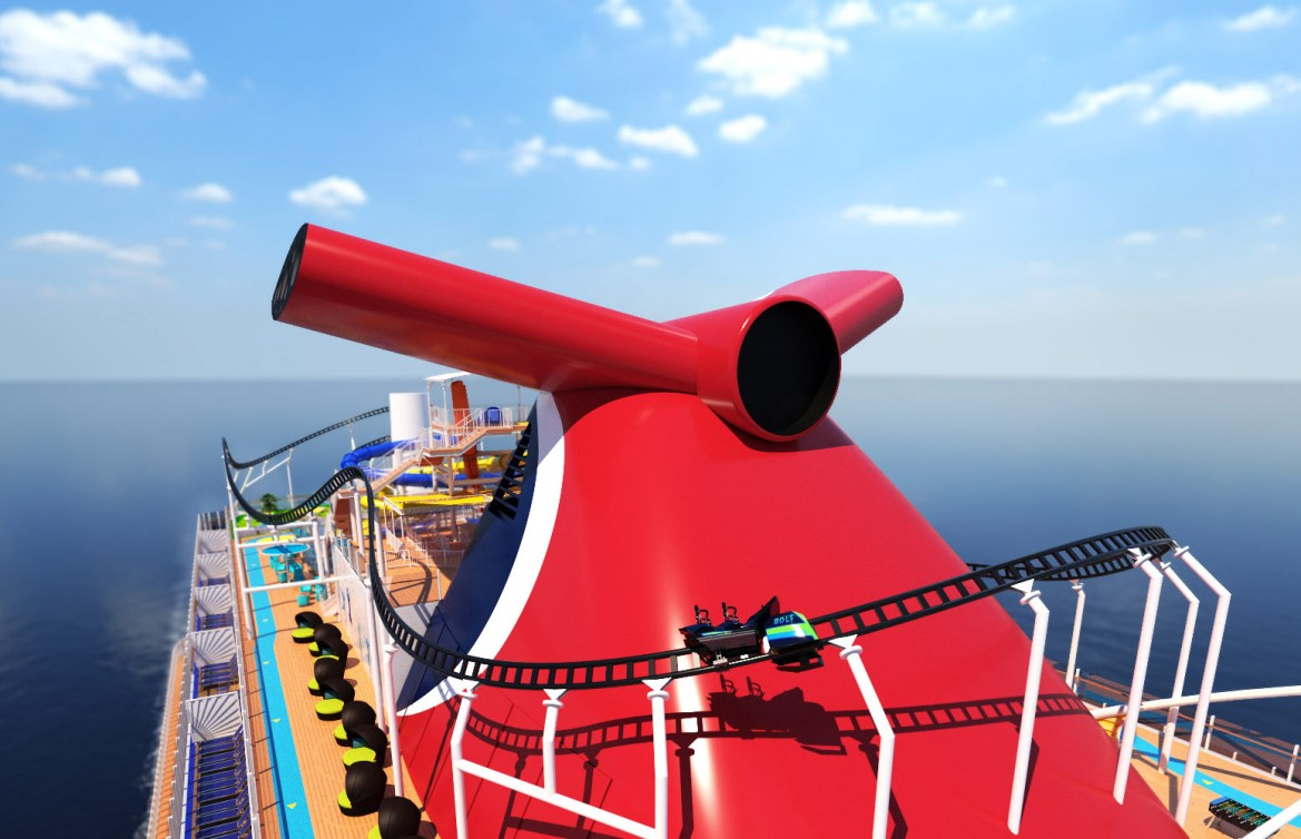 Carnival Cruises Mardi Gras features first rollercoaster
