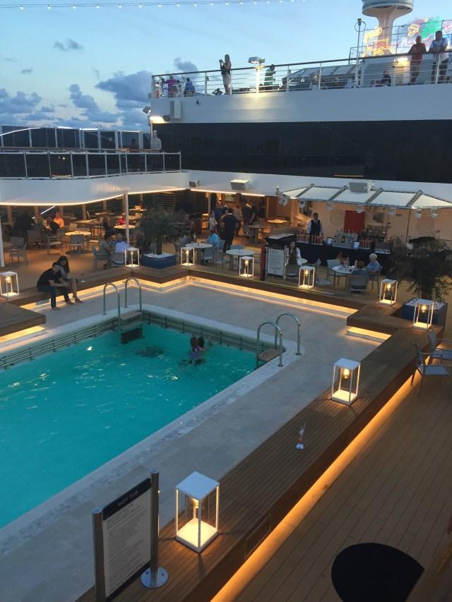 Holland America Statendam cruise ship aft swimming pool at night