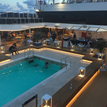 Holland America Statendam cruise ship aft swimming pool at night