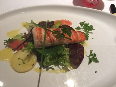 Holland America Statendam cruise ship dining room lobster tail dinner