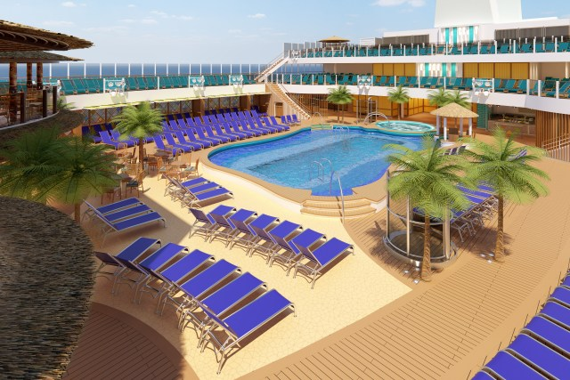 Carnival Cruises Mardi Gras beach pool mid ship