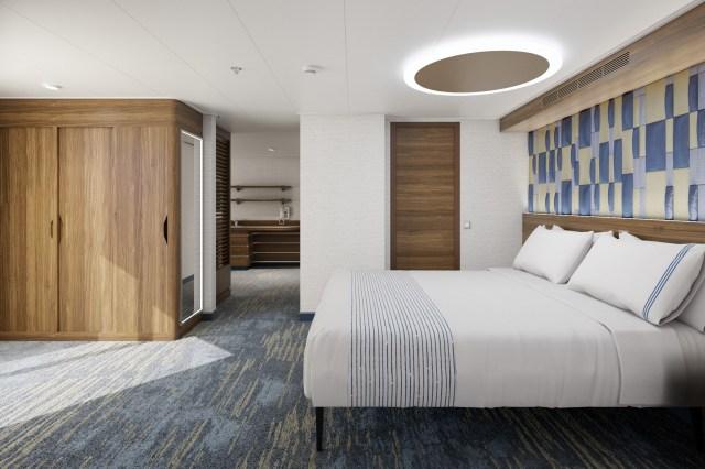 Carnival Cruises Mardi Gras corner suite bed