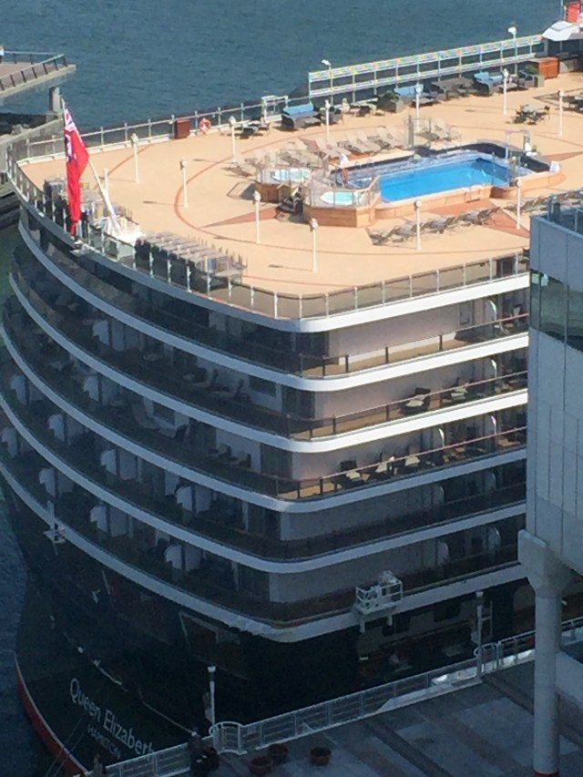 Cunard Queen Elizabeth aft pool cruise ship docked in Vancouver. Canada bans cruise ships until 2022