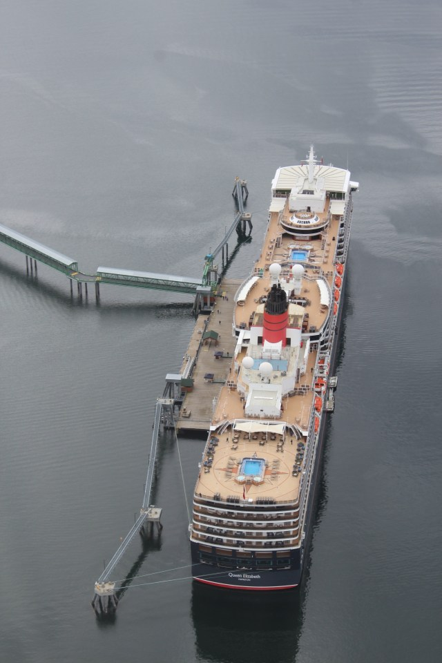 Helicopter flight over Cunard Queen Elizabeth