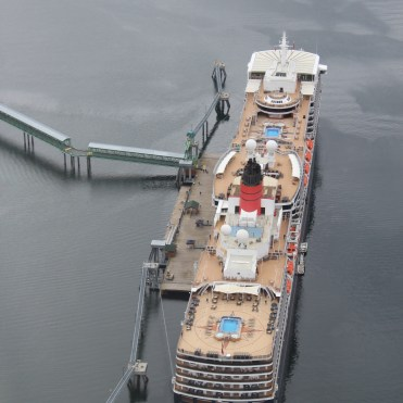 Helicopter flight over Cunard Queen Elizabeth