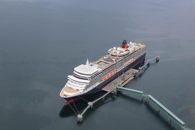 Cunard Queen Elizabeth docked in Hoonah Alaska