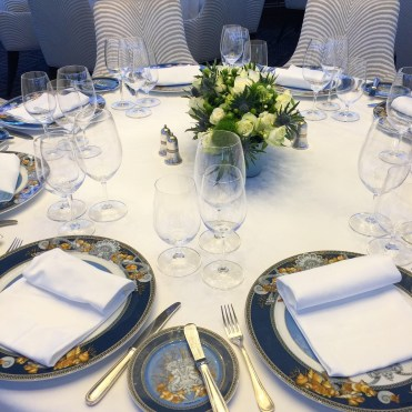 Regent Cruises Voyager Versace table setting Compass Rose restaurant