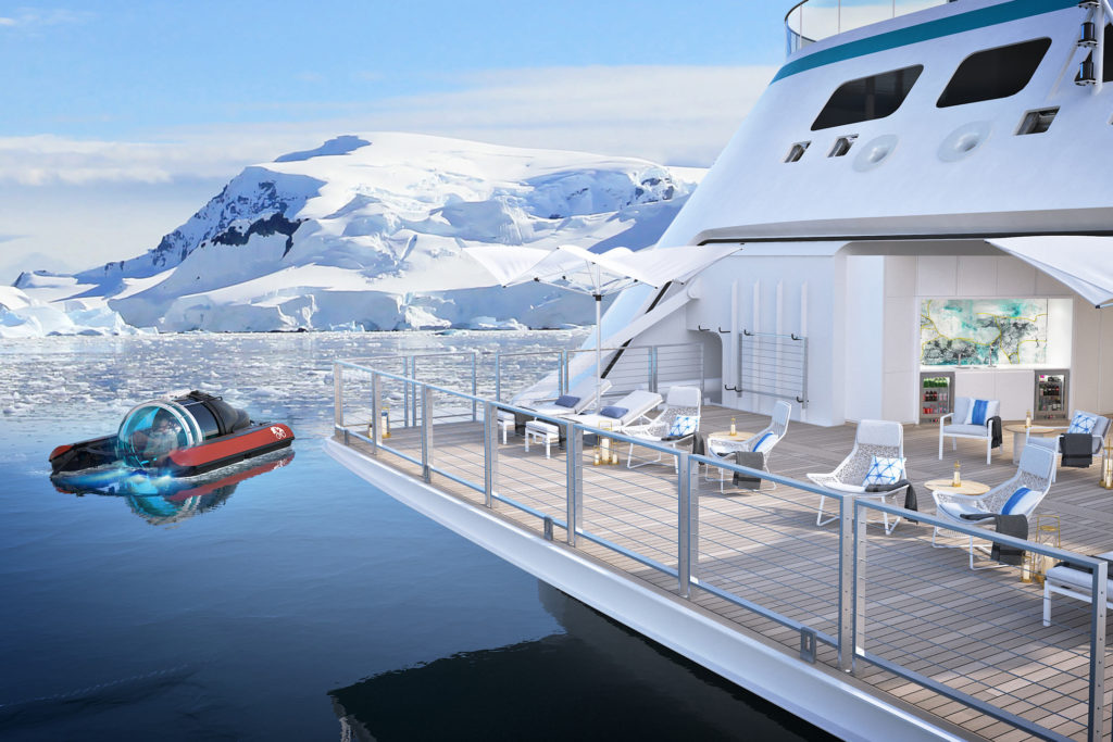 Crystal Cruises Endeavor ship has submarines and helicopters