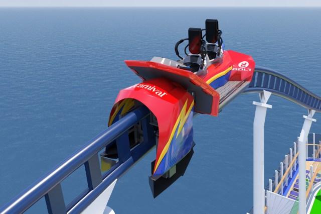 Carnival Cruises Mardi Gras roller coaster car closeup