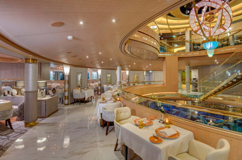 Holland America Noordam restaurant with white marble floor