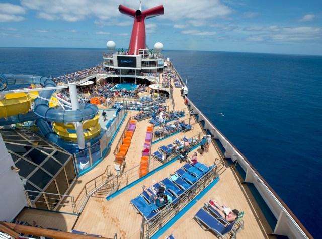 Carnival Sunrise top deck sunbathers