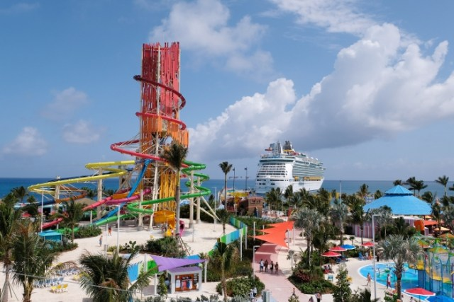 Royal Caribbean Perfect Day Coco Cay Devil Tower and ship
