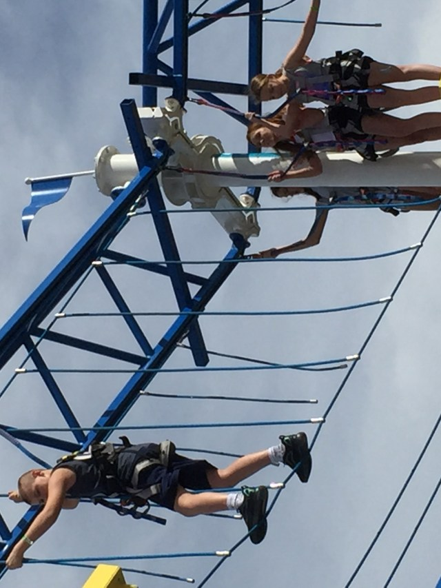 Carnival Cruises Panorama cruise ship ropes course with passengers