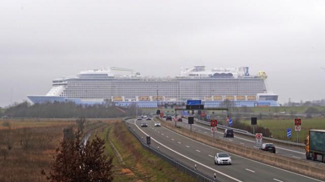 Royal Caribbean Odyssey of the Seas passing autobahn