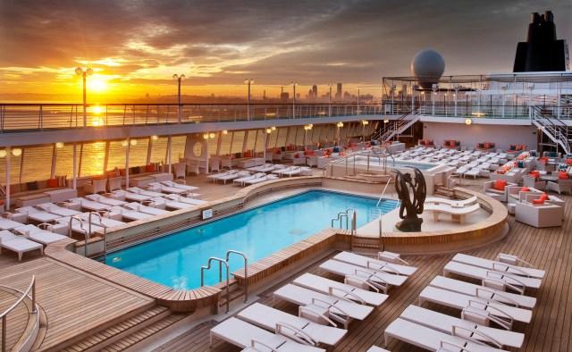 Crystal Cruises Symphony pool deck night