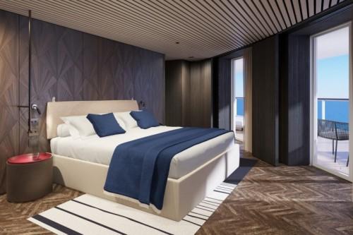 Norwegian cruise line prima norwegianprima-thehavenpremierowner suite with large balcony master bedroom rendering