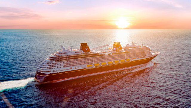 Disney Cruise Line Wish cruise ship exterior sunset