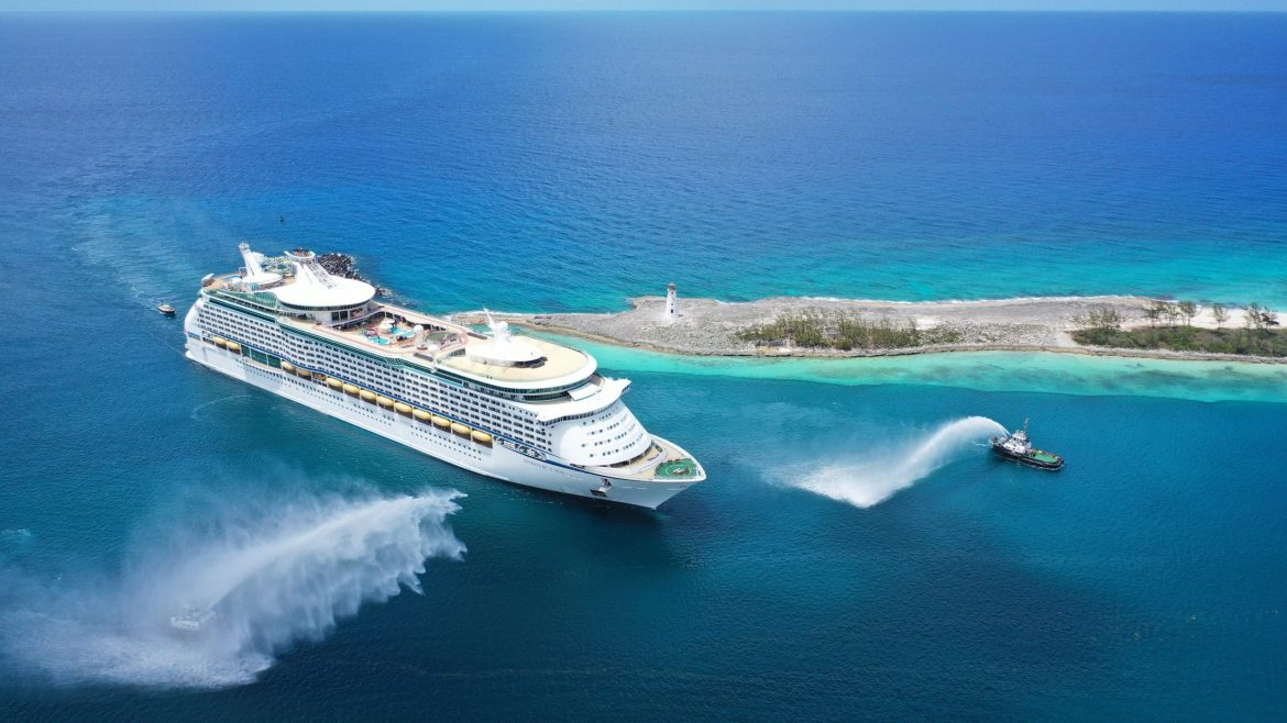Royal Caribbean Adventure of the Seas arrives at private island Perfect Day at CocoCay