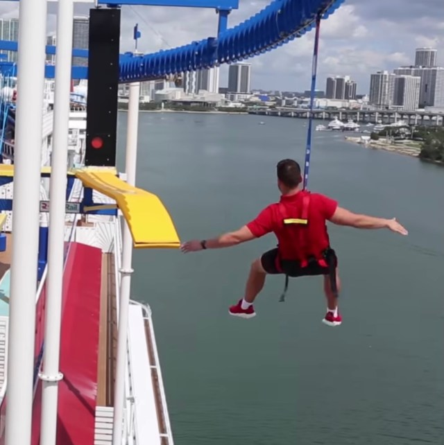 Carnival Mardi Gras zip line ropes obstacle course