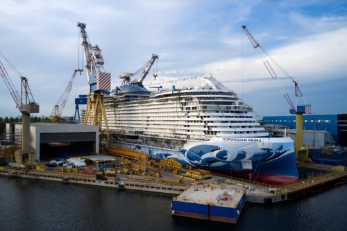 Norwegian Cruise Line's new ship Norwegian Prima was floated out