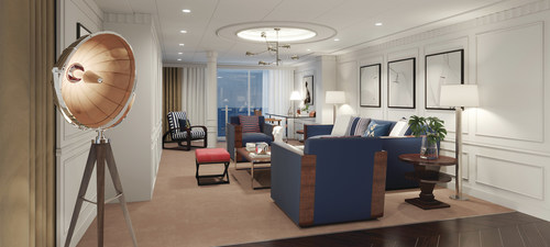 Oceania Cruises Owner's Suites and library is styled in Ralph Lauren Home