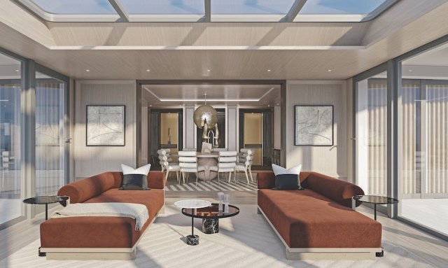 Regent Seven Seas Grandeur Regent suite orange couches