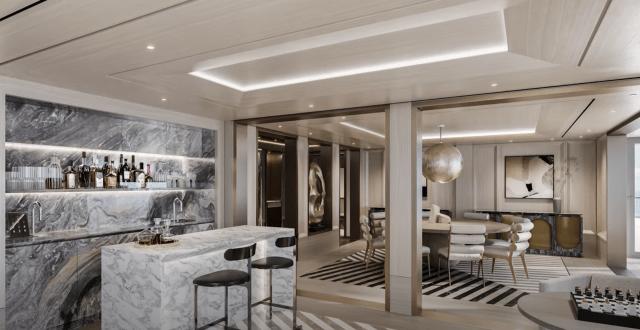 Regent Seven Seas Grandeur Regent suite bar area