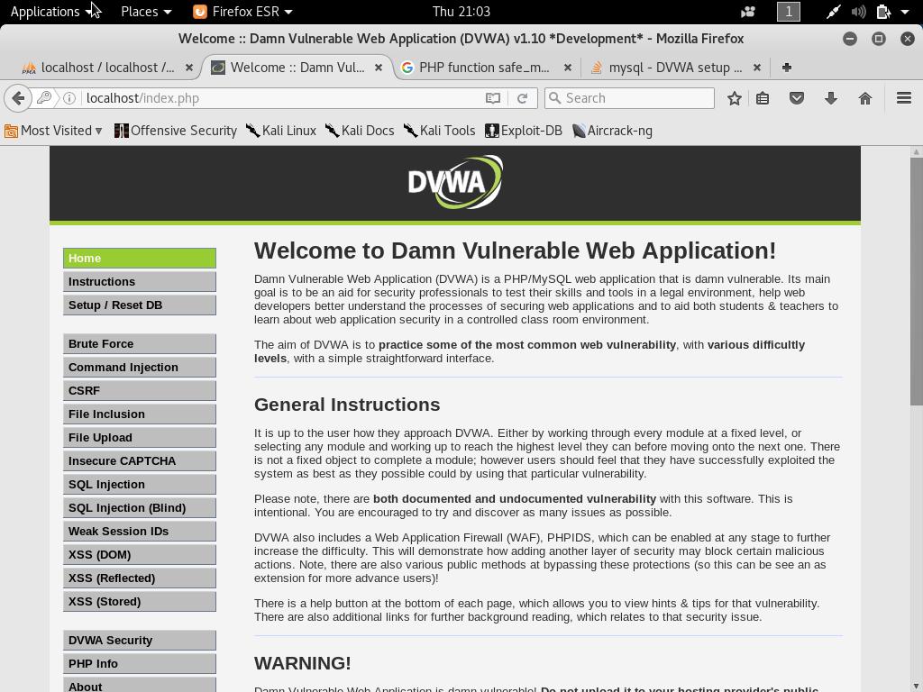 setup own pentesting environment13 - Setup own PenTesting Environment (DVWA) on your Kali Linux