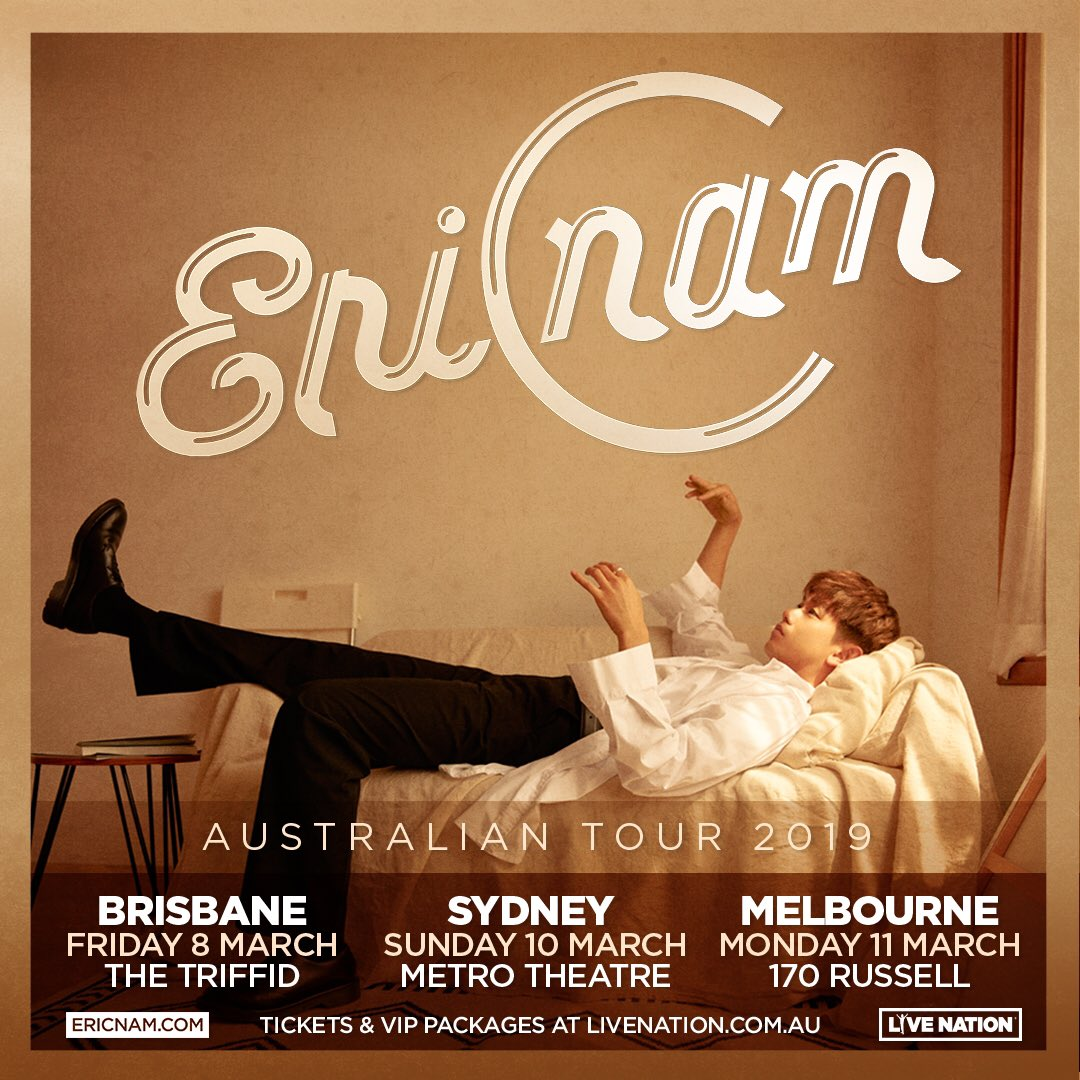 Eric Nam is heading down under for his Australian tour