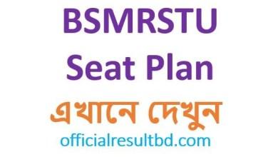 BSMRSTU Exam Seat Plan 2019-20   BSMRSTU Admission Test