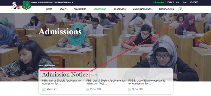 BUP Admission Admit Card 2021 PDF Download