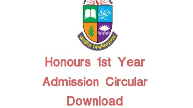 NU Honours 1st Year Admission Circular 2021 PDF Download for Session 2021-22