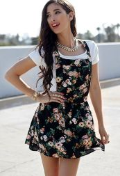 Forever 21. Floral Print Overall Dress.