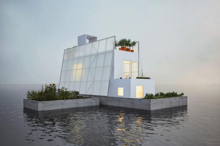 maison bateau écolo flottante