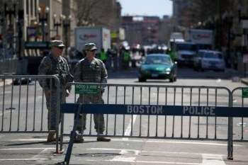 Police and military personnel in Boston, Massachusetts, April 16, 2013