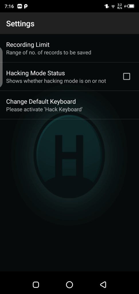Screenshot of Hackers Keylogger Mod App Apk